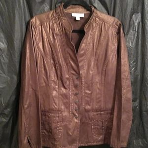 Coldwater Creek brown shimmery snap up jacket 16
